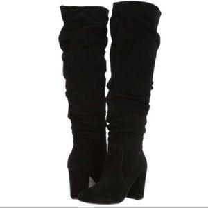 Steve Madden Black Suede Sagan Knee High Boots